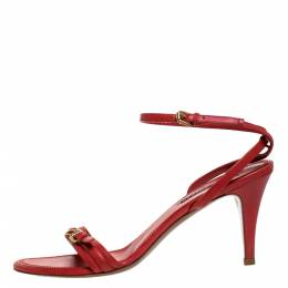 Ralph Lauren Collection Red Leather Horsebit And Buckle Detail Ankle Strap Sandals Size 39 275581