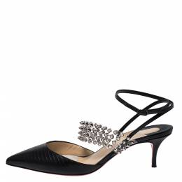 Christian Louboutin Black Lizard Embossed Leather And PVC Levita 55 Studded Ankle Wrap Sandals Size 39 275669