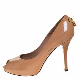 Louis Vuitton Nude Patent Leather Oh Really! Peep Toe Platform Pumps Size 38 276523