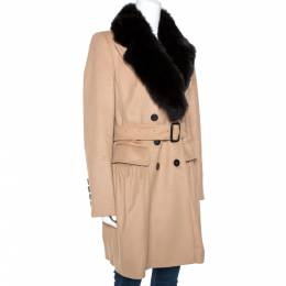 Burberry Beige Cashmere and Fox Fur Lined Belted Coat M 275473