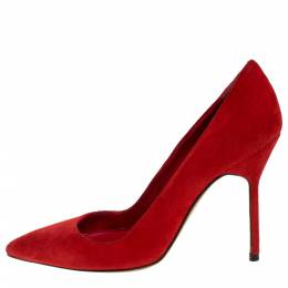 Manolo Blahnik Red Suede BB Pointed Toe Pumps Size 35 276787