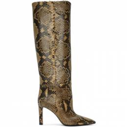Saint Laurent	 Beige Python Grace 85mm Boots 603914 LX100