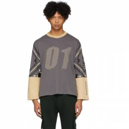 Grey and Beige 01 Long Sleeve T-Shirt Youths in Balaclava YOU01T009