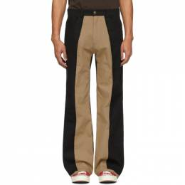 Black and Beige Two-Tone Trousers Youths in Balaclava YOU01P007