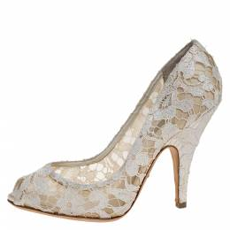 Dolce and Gabbana Off-white Lace And Satin Peep Toe Pumps Size 39.5 276840