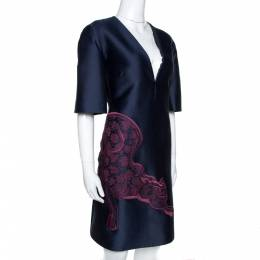 Stella Mccartney Navy Blue Cotton Silk Tiger Applique Structured Dress M 276677