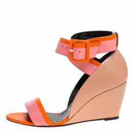 Pierre Hardy Tri Color Leather Ankle Strap Wedge Sandals Size 39 276952