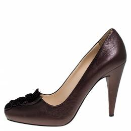 Prada Bronze Leather Ruffle Detail Round Toe Pumps Size 36 276834
