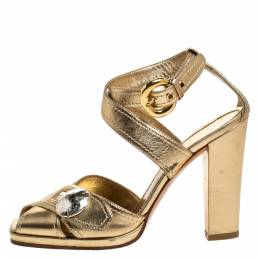 Casadei Metallic Gold Leather Button Embellished Cross Ankle Strap Sandals Size 37 276799