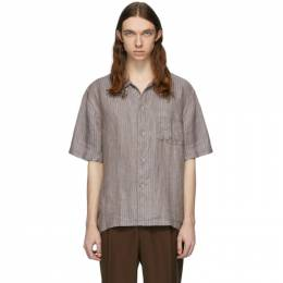 Our Legacy Blue and Brown Box Short Sleeve Shirt M2202BL
