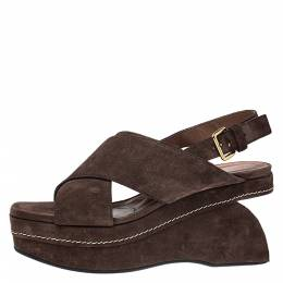MARNI Brown Suede Crisscross Wedge Sandals Size 39 276529
