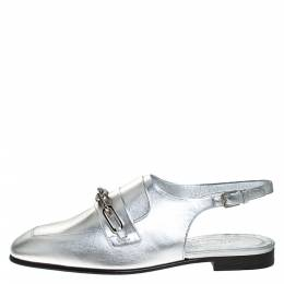 Burberry Silver Leather Cheltown Slingback Flat Sandals Size 36.5 277669