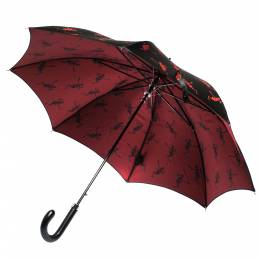 Alexander McQueen	 Black Dancing Skeleton Print Nylon Long Umbrella 277242