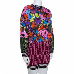 M Missoni Multicolor Pop Art Print Rib Knit Sweater Dress S 277168