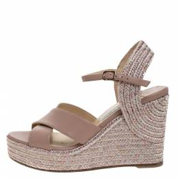 Jimmy Choo Pale Pink Leather Amely Espadrille Wedge Slingback Sandals Size 38.5 277433