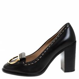 Salvatore Ferragamo	 Black Leather Fele Gancio Detail Block Heel Loafer Pumps Size 40.5 277438