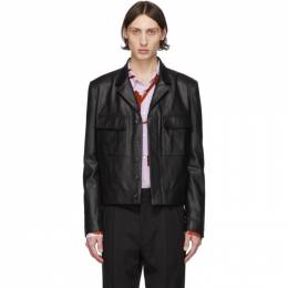 Paul Smith Black Leather Military Jacket M1R-1921-A01027