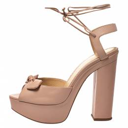 Charlotte Olympia Beige Leather Bow Ankle Tie Up Platform Sandals Size 41 277448