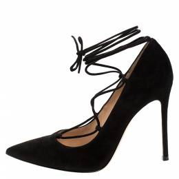 Gianvito Rossi Black Suede Femi Lace up Pointed Toe Pumps Size 39.5 277408