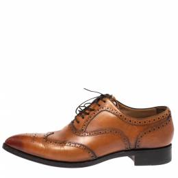Christian Louboutin Tan Leather Brogue Fiori Lace Up Oxfords Size 42.5 278835