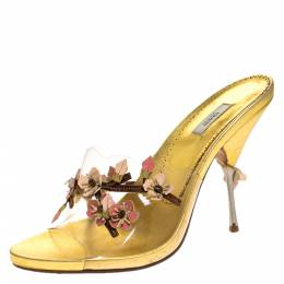 Prada Metallic Gold Leather And PVC Leather Flower Embellished Slide Sandals Size 39.5 278437