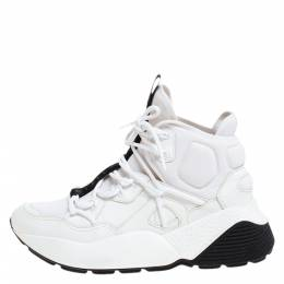 Stella Mccartney White/Black Neoprene and Faux Leather Eclypse High Top Chunky Sneakers Size 39 278476
