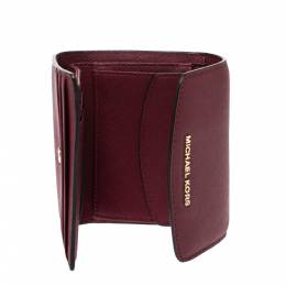Michael Kors Maroon Leather Short Jet Set Trifold Wallet 278496