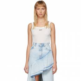 Off-White White Stretch Rib Tank Top OWAD108S20FAB0010110