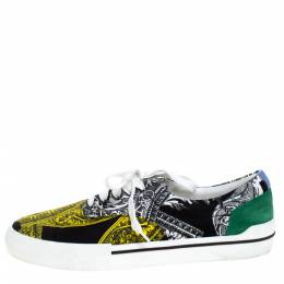 Versace Multicolor Printed Fabric And Suede Trim Low Top Lace Up Sneakers Size 43 279054