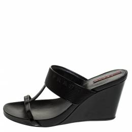 Prada Black Patent Leather And Nylon T-Strap Wedge Slide Sandals Size 38.5 279247