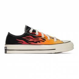 Converse Black and Red Flame Chuck 70 Low Sneakers 167813C