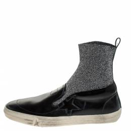 Golden Goose Deluxe Brand Black Leather and Elastic Fabric Hanami Sock Slip On Sneakers Size 39 279383