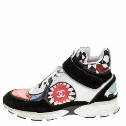 Chanel Multicolor Printed PVC and Leather CC Strap High Top Sneakers Size 40.5 279538