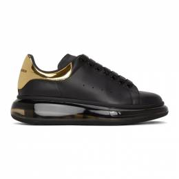 Alexander McQueen	 Black and Gold Clear Sole Oversized Sneakers 610812WHX9X