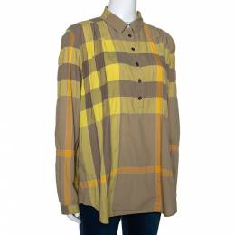 Burberry Brit Yellow Exploded Check Cotton Half Placket Shirt L 279947