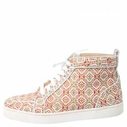 Christian Louboutin Multicolor Woven Leather Rantus Orlato High Top Sneakers Size 39 251464