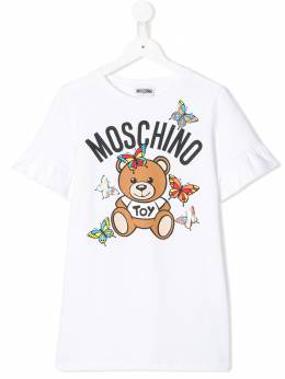 Moschino Kids TEEN frill sleeve T-shirt dress HBV06ELDA00