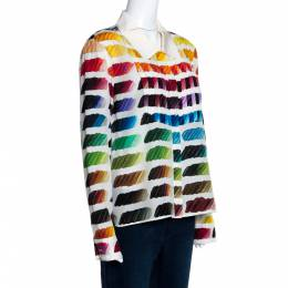 Chanel Multicolor Silk Colorama Print Long Sleeve Shirt L 280809