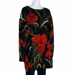 Dolce and Gabbana Black and Red Floral Printed Long Sleeve Tunic M 280719