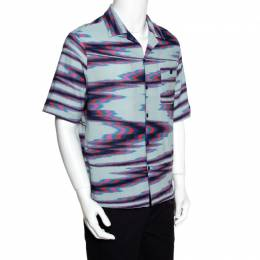 Missoni Limited Edition Multicolor Striped Knit Camp Collar Shirt S 280924