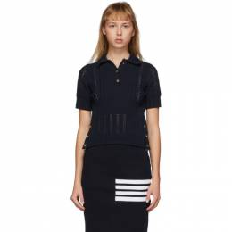 Thom Browne Navy Open Stitch Polo FKP052A-00219