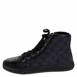 Gucci Black GG Canvas and Leather Cap Toe High Top Sneakers Size 37