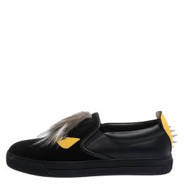 Fendi Black/Yellow Leather and Suede Fur Detail Monster Slip On Sneakers Size 42