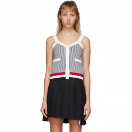 Thom Browne Navy and White Seersucker V-Neck Tank Top FJS051A-01732