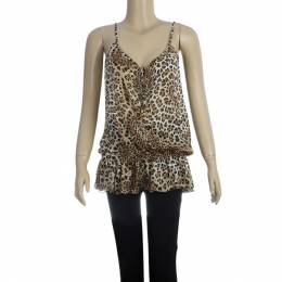 Roberto Cavalli	 Animal Print Dropwaist Gathered Top M