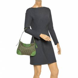 Dkny Green Monogram Canvas and Lizard Embossed Leather Small Shoulder Bag 281414