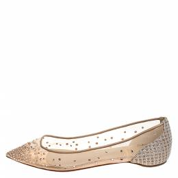 Christian Louboutin Beige Embellished Mesh And Lame Fabric Follies Strass Pointed Toe Ballet Flats Size 38.5 282143