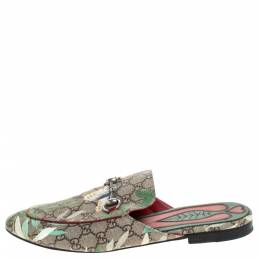 Gucci Multicolor GG Supreme Monogram Coated Canvas Tian Princetown Flat Mules Size 43.5 282079