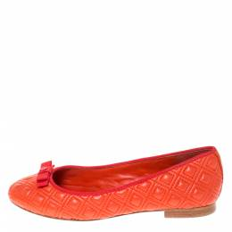 Tory Burch Orange Quilted Leather Bow Ballet Flats Size 37 282289