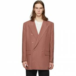 Paul Smith Pink Linen Longline Double-Breasted Blazer M1R-1944-A01032